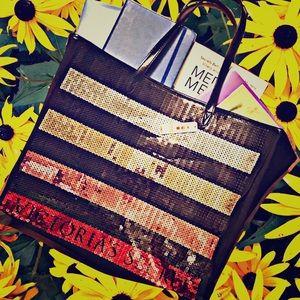 NWT Victoria's Secret Tote Bag ❤️ sequin striped